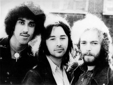L-R Phil Lynott, Brian Downey and Eric Bell.