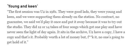 Ian Wilson on the U2 session